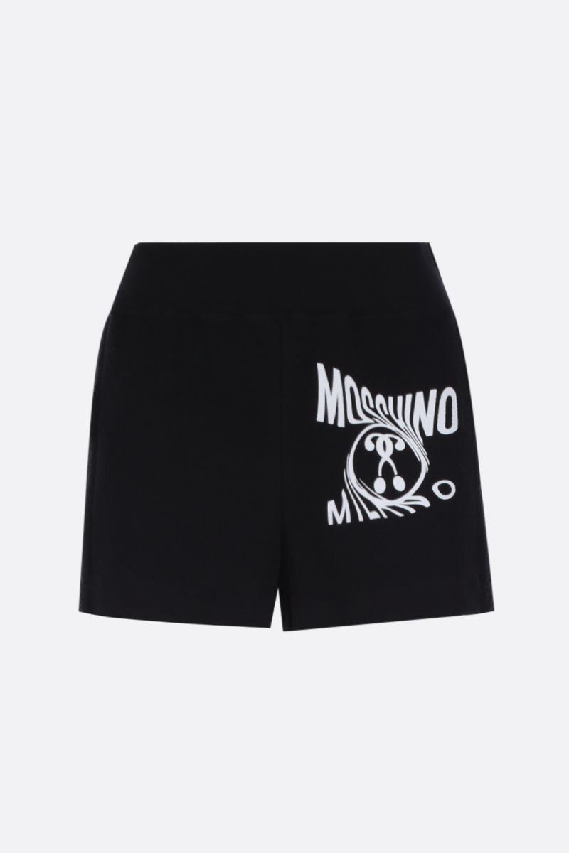 MOSCHINO: Double Question Mark print jersey shorts Color Black_1