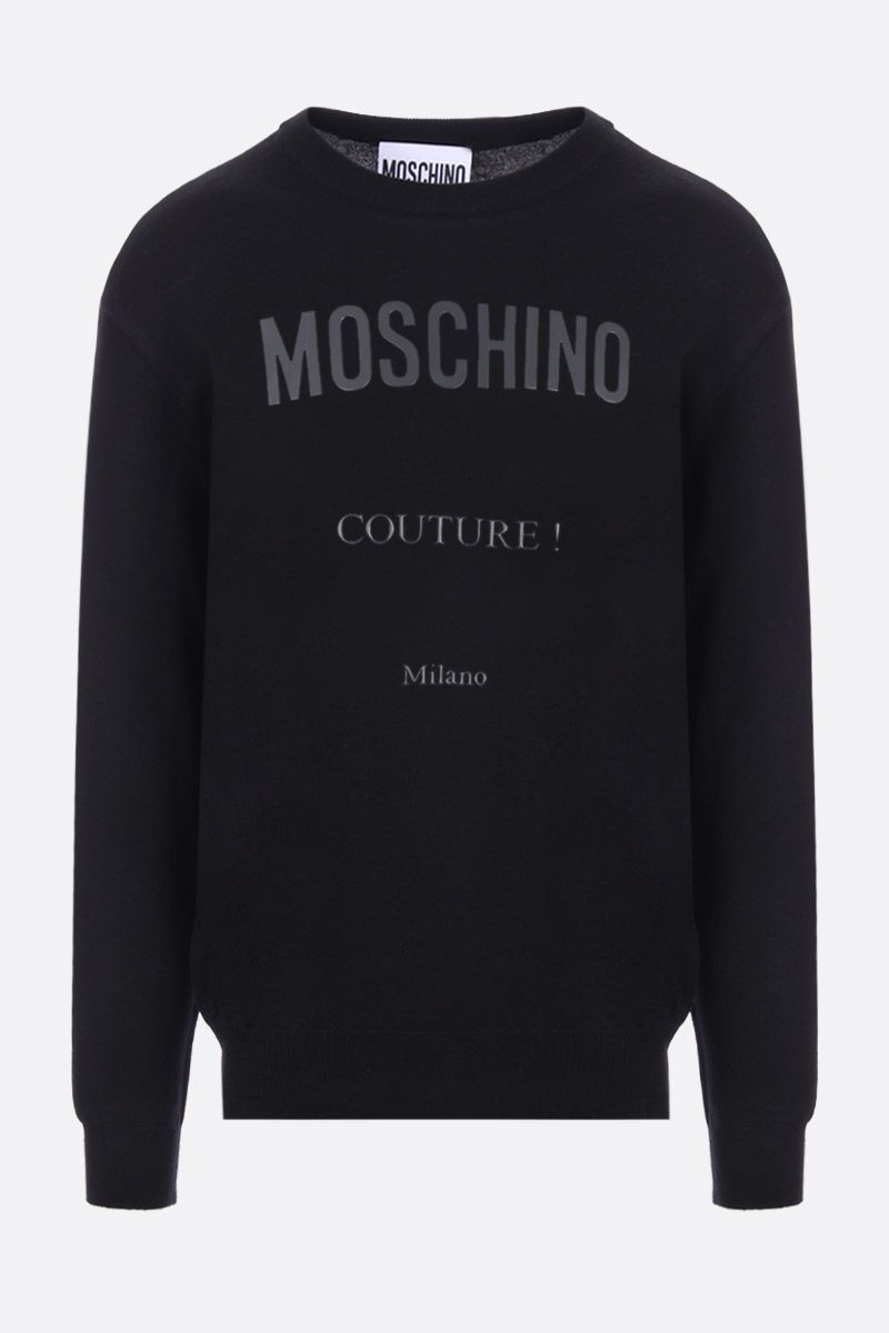 MOSCHINO: Moschino Couture! print cotton cashmere blend pullover Color Black_1