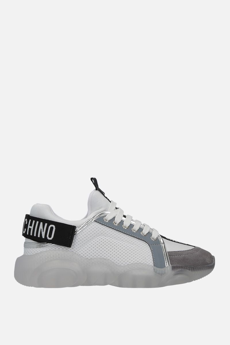 MOSCHINO: Teddy sneakers in mesh, neoprene and suede Color White_1
