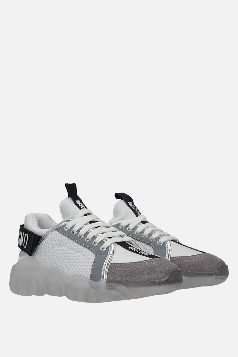 MOSCHINO: Teddy sneakers in mesh, neoprene and suede Color White_3