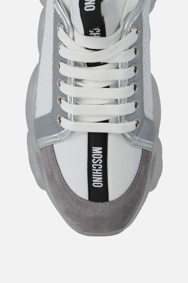 MOSCHINO: Teddy sneakers in mesh, neoprene and suede Color White_5