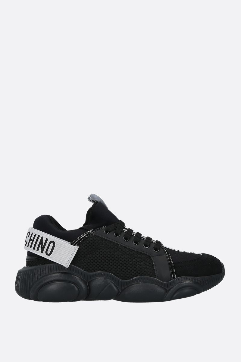 MOSCHINO: Teddy mesh, neoprene and suede sneakers Color Black_1