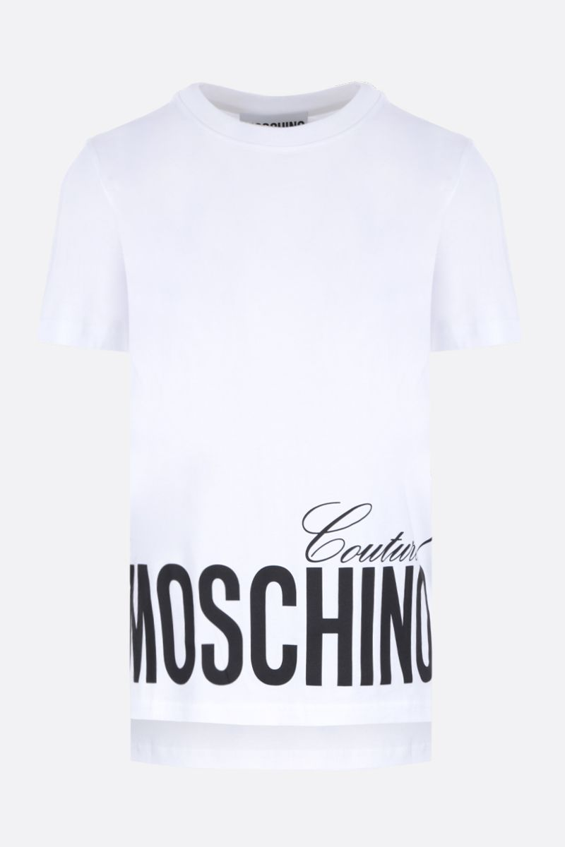 MOSCHINO: t-shirt in cotone stampa Moschino Couture! Colore Bianco_1