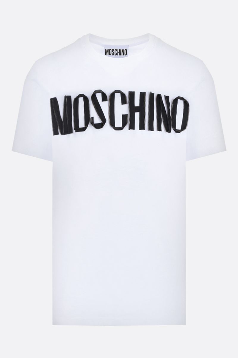 MOSCHINO: zipped logo cotton oversized t-shirt Color White_1