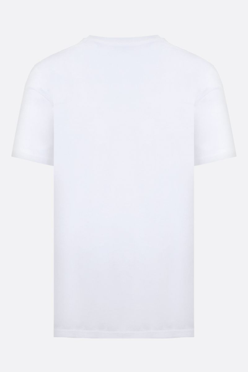 MOSCHINO: zipped logo cotton oversized t-shirt Color White_2