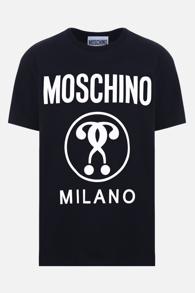 MOSCHINO: Double Question Mark print cotton t-shirt Color Black_1