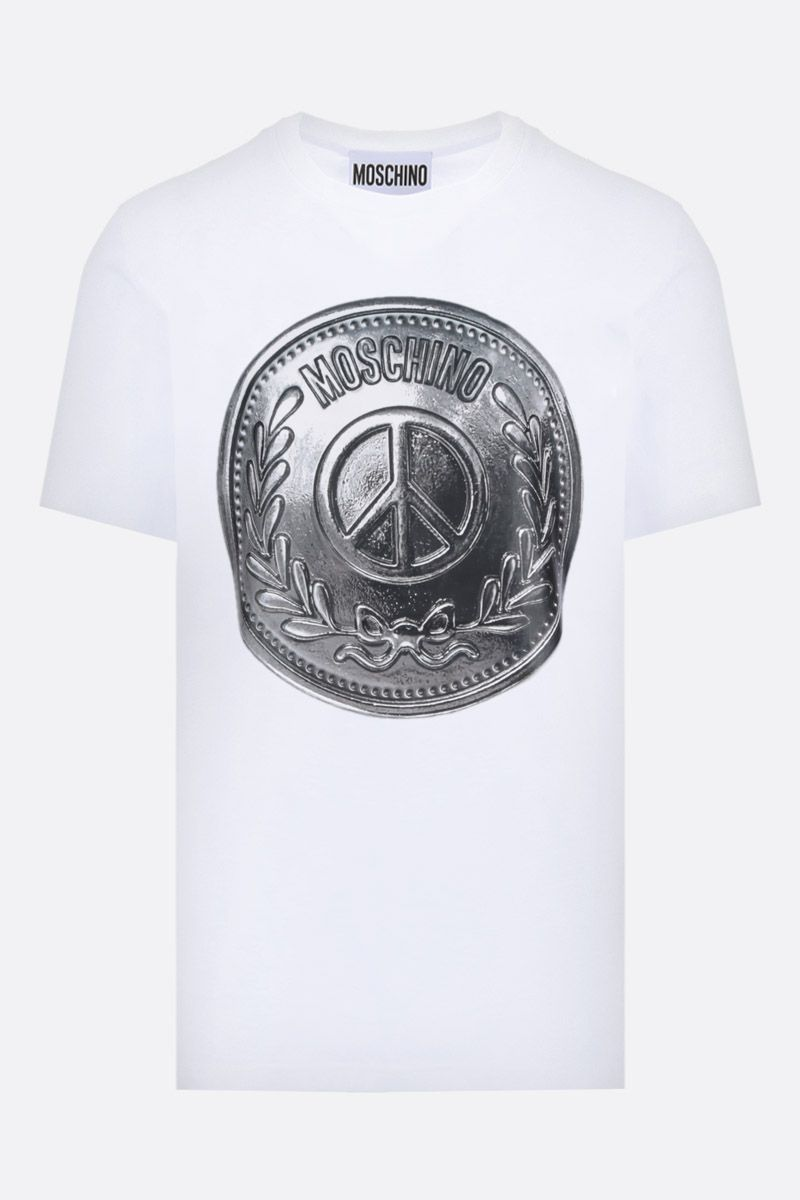 MOSCHINO: t-shirt in cotone stampa Coin Colore Bianco_1
