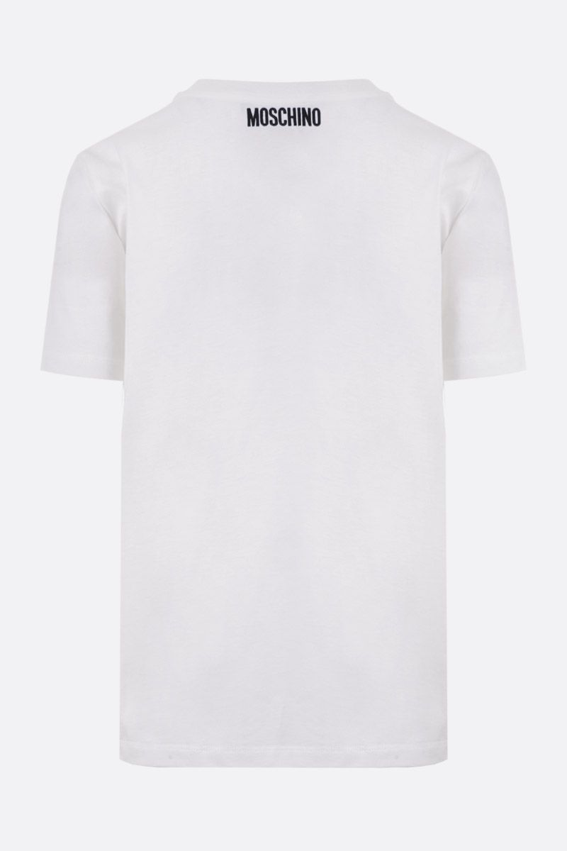 MOSCHINO: Bullchic! embroidered cotton t-shirt Color White_2
