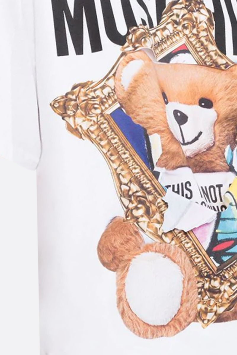 MOSCHINO: t-shirt oversize Frame Teddy Bear in cotone Colore Bianco_2