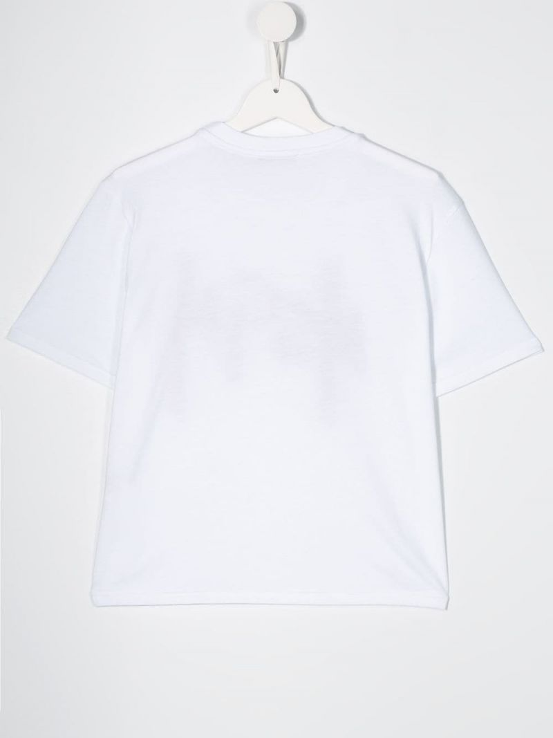 MSGM KIDS: logo embroidered cotton cropped t-shirt Color White_2