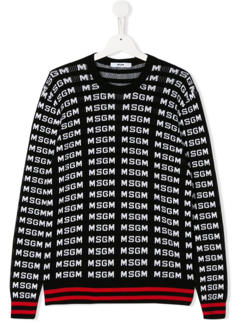 MSGM KIDS: logo jacquard cotton pullover Color Black_1