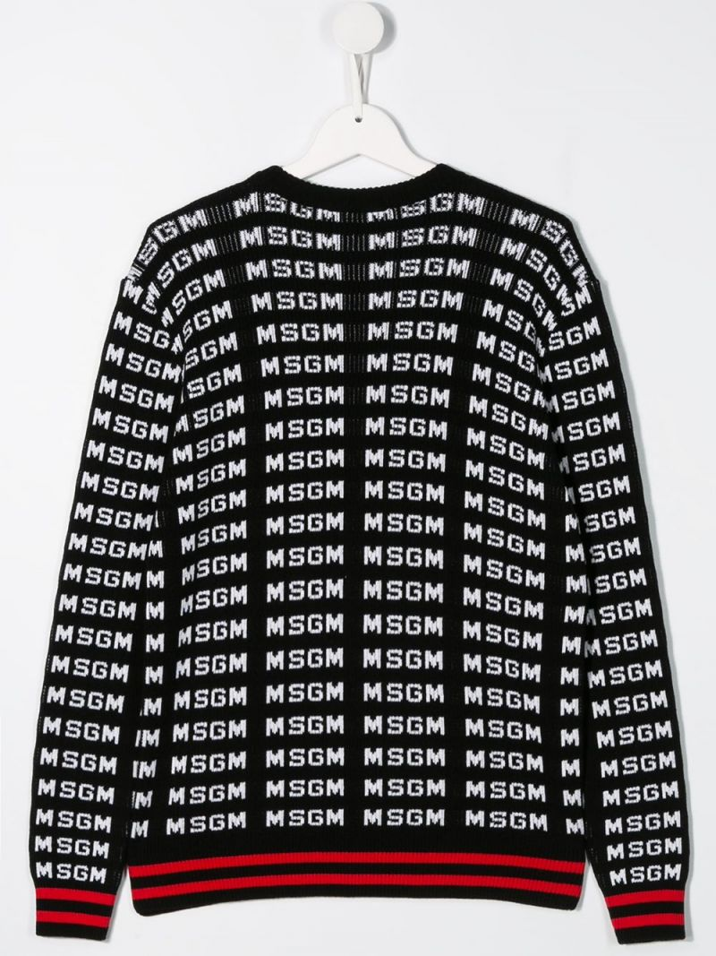 MSGM KIDS: logo jacquard cotton pullover Color Black_2
