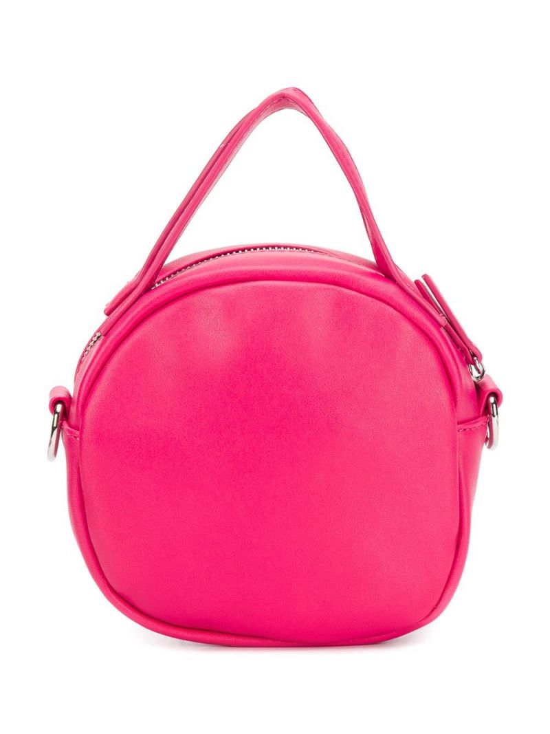MSGM KIDS: embossed logo faux leather crossbody bag Color Pink_2