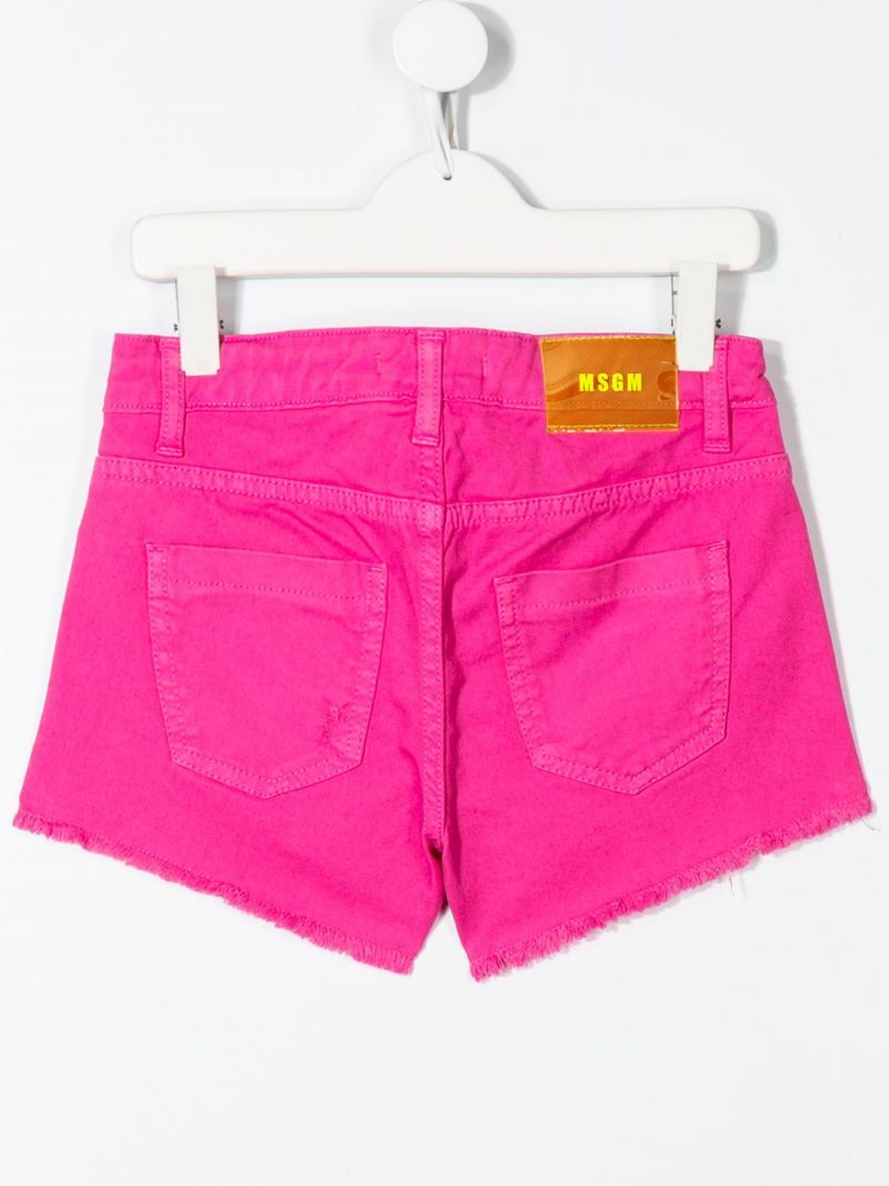 MSGM KIDS: logo embroidered stretch denim shorts Color Purple_2