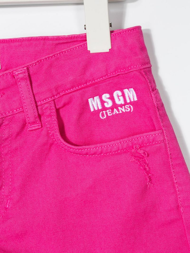 MSGM KIDS: logo embroidered stretch denim shorts Color Purple_3