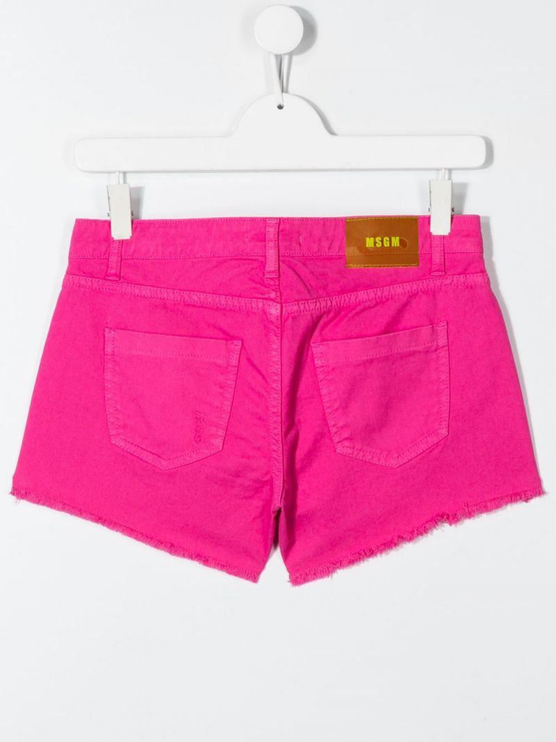 MSGM KIDS: logo embroidered stretch denim shorts Color Pink_2