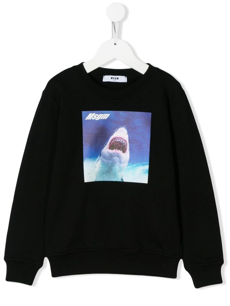 MSGM KIDS: Shark print cotton sweatshirt Color Black_1