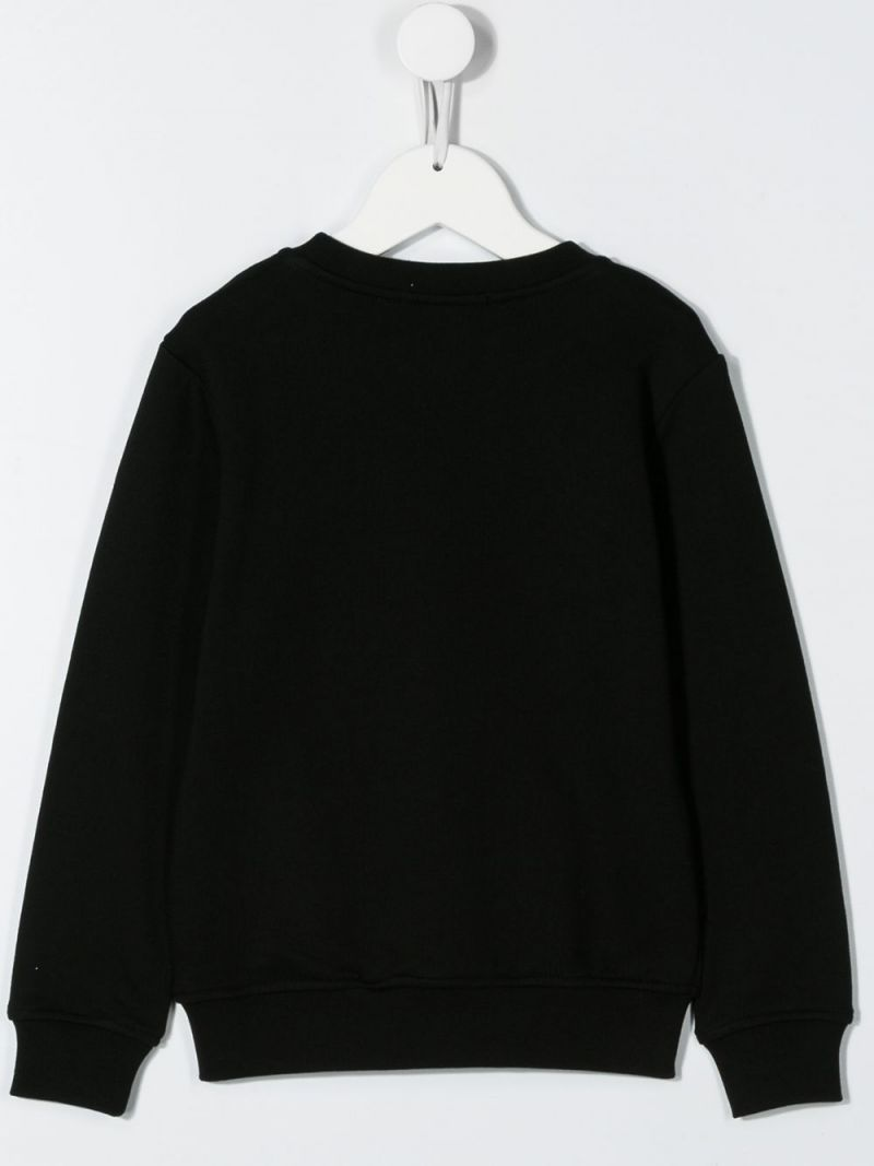 MSGM KIDS: Shark print cotton sweatshirt Color Black_2