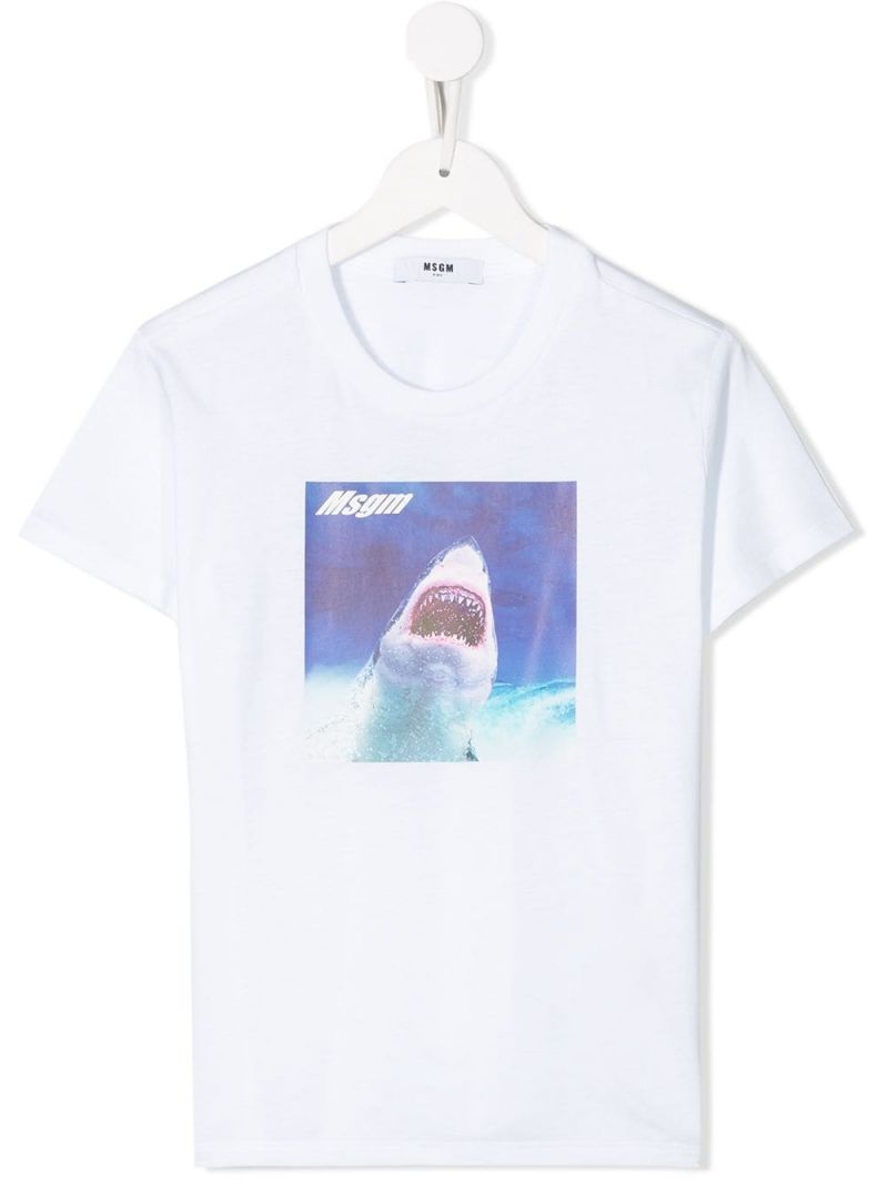 MSGM KIDS: Shark print cotton t-shirt Color White_1