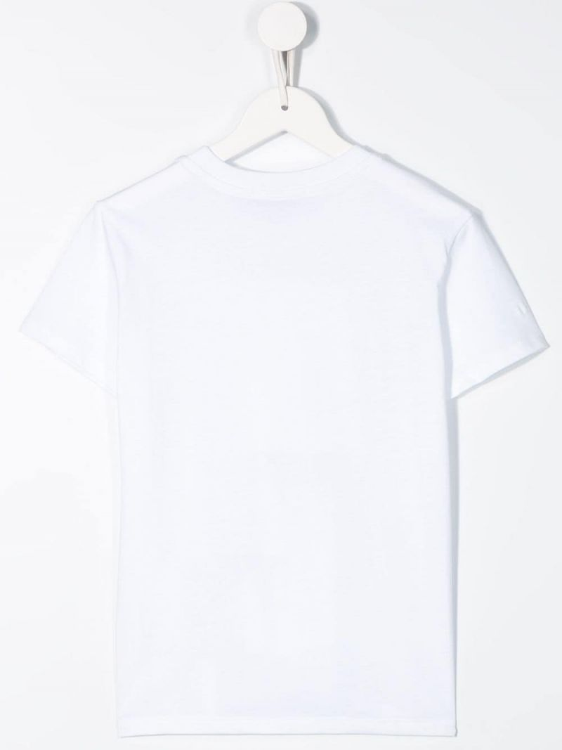 MSGM KIDS: Shark print cotton t-shirt Color White_2