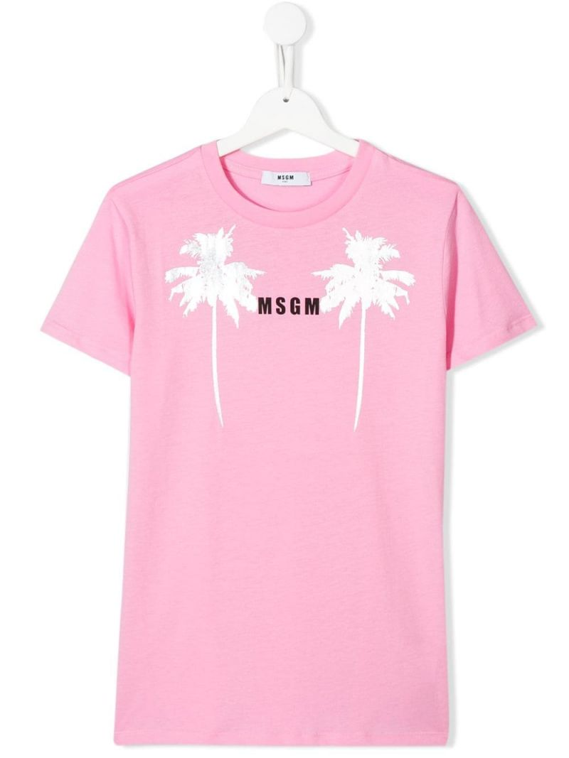 MSGM KIDS: graphic logo print cotton t-shirt Color Pink_1