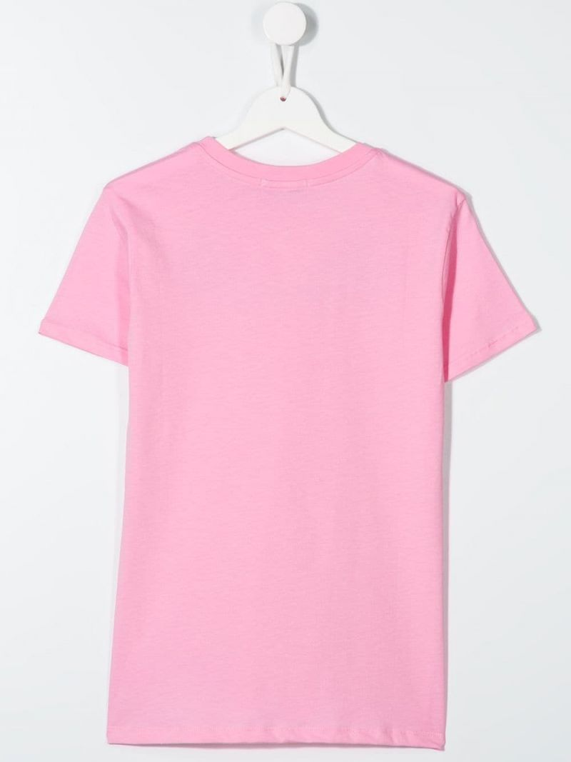 MSGM KIDS: graphic logo print cotton t-shirt Color Pink_2