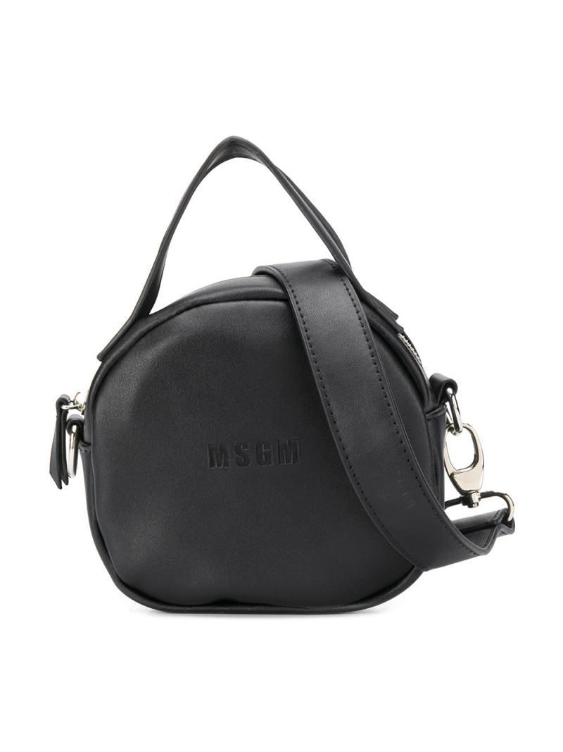 MSGM KIDS: embossed logo faux leather crossbody bag Color Black_1