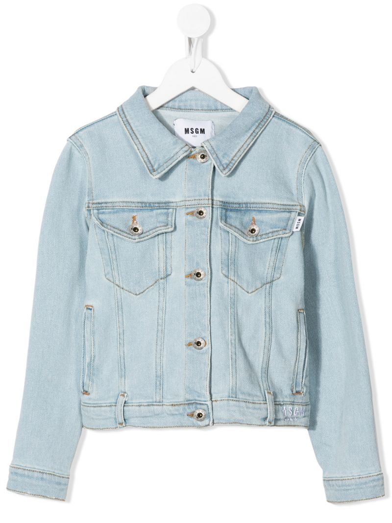 MSGM KIDS: logo print stretch denim jacket Color Blue_1