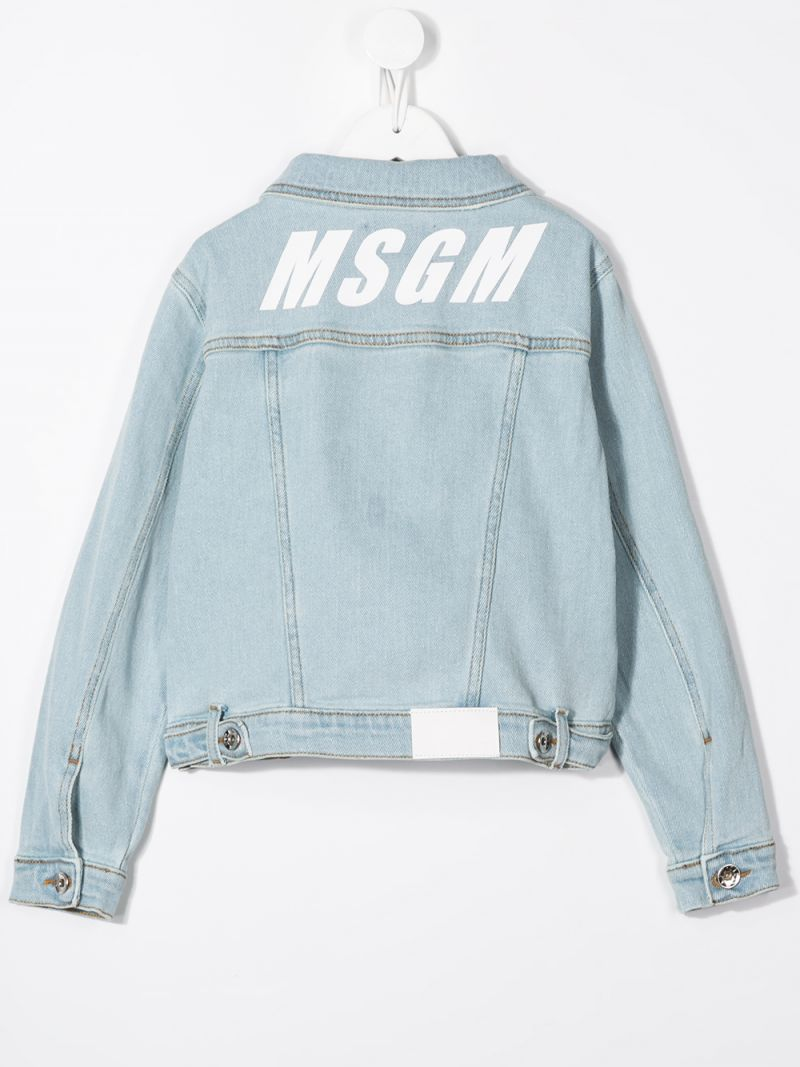 MSGM KIDS: logo print stretch denim jacket Color Blue_2