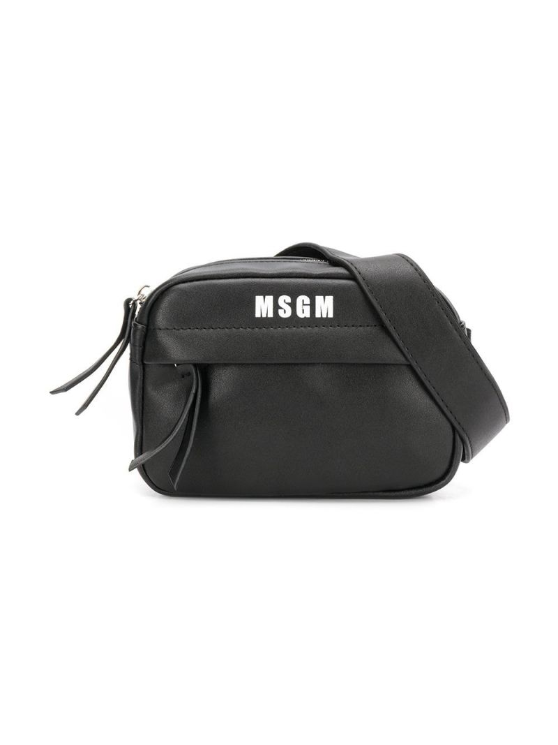 MSGM KIDS: logo print faux leather belt bag Color Black_1
