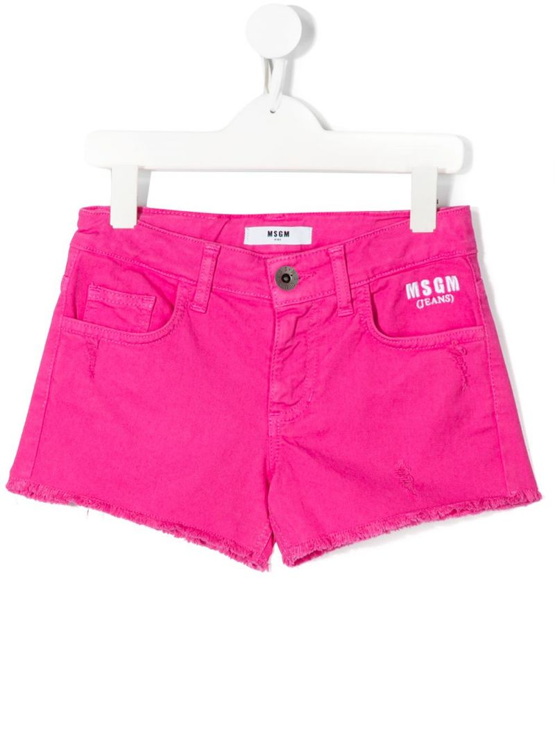 MSGM KIDS: logo embroidered stretch denim shorts Color Purple_1