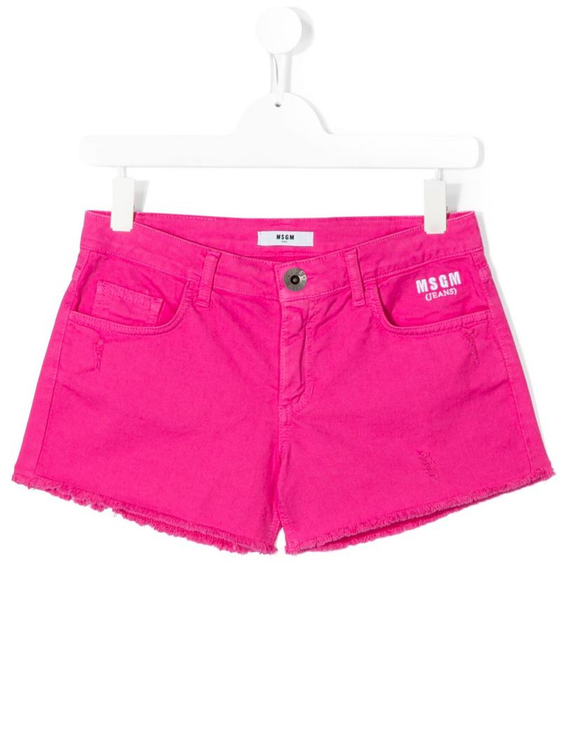 MSGM KIDS: logo embroidered stretch denim shorts Color Pink_1