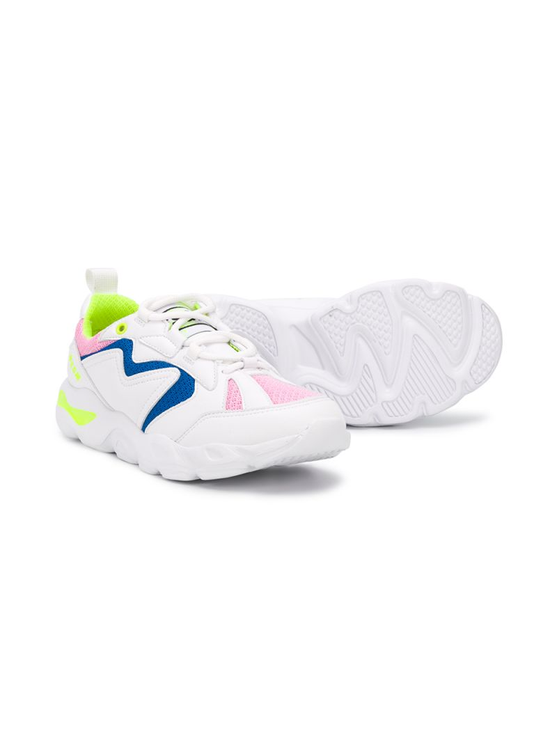 MSGM KIDS: faux leather and mesh sneakers Color White_2