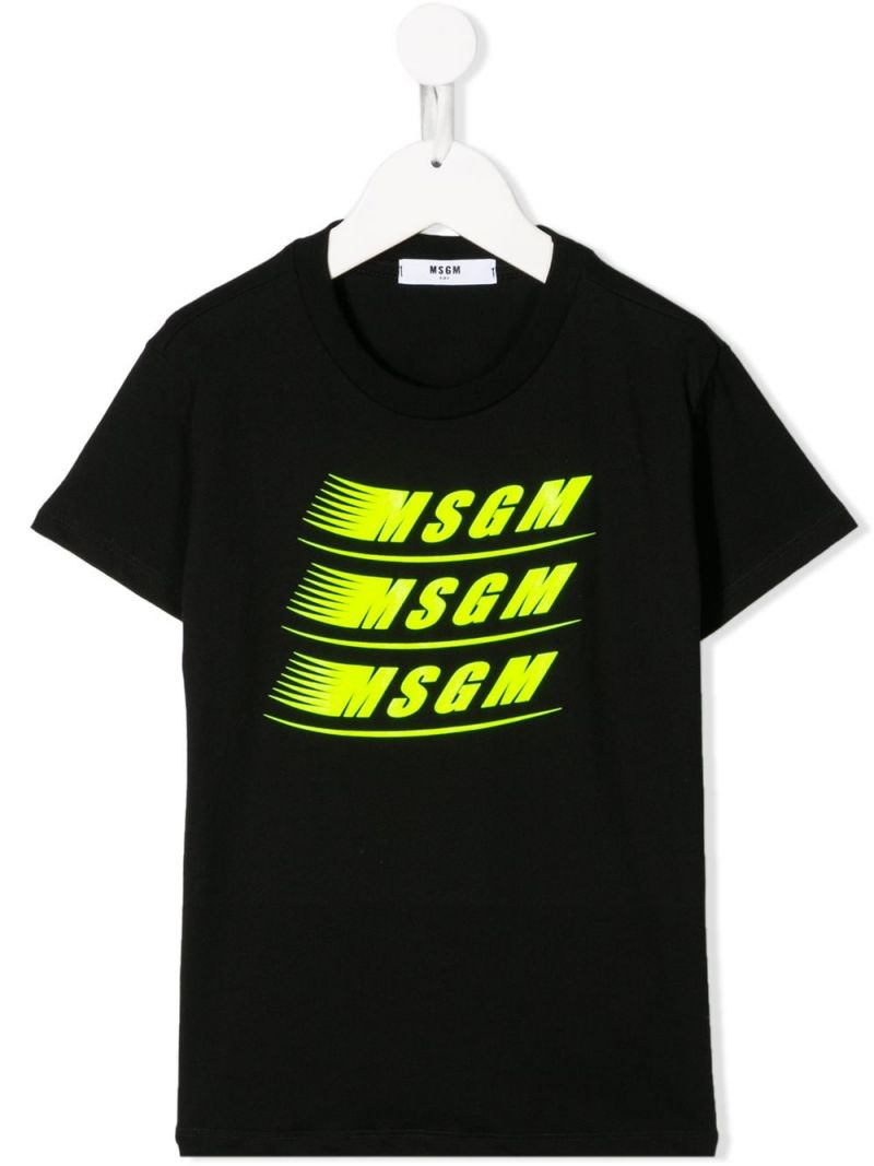 MSGM KIDS: MSGM print cotton t-shirt Color Black_1