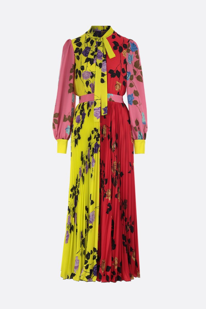 MSGM: Flower MSGM printed crepe de chine midi dress Color Yellow_1