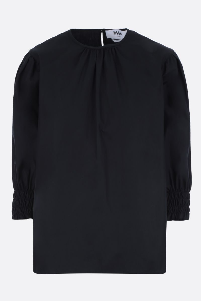 MSGM: frill-detailed popline blouse Color Black_1