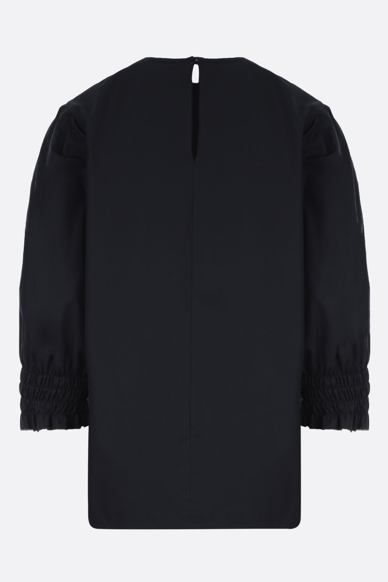 MSGM: frill-detailed popline blouse Color Black_2