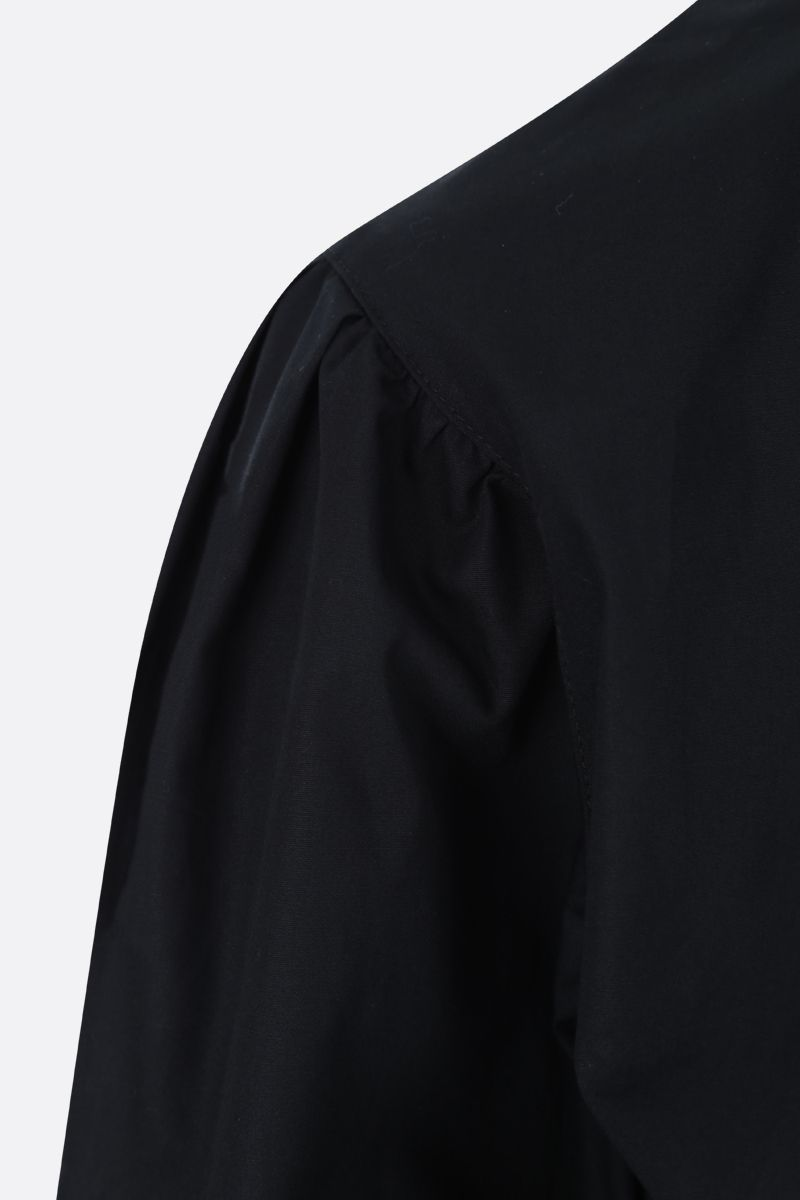 MSGM: frill-detailed popline blouse Color Black_3
