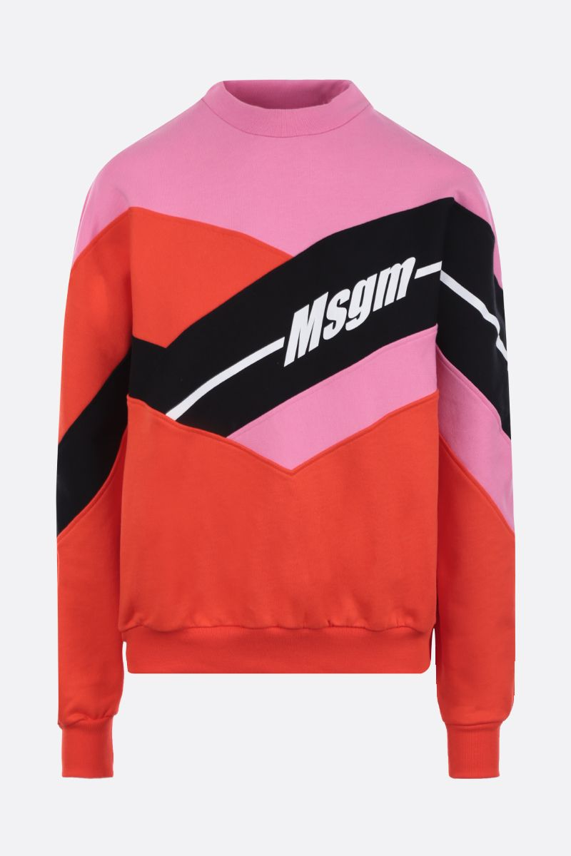 MSGM: logo print cotton sweatshirt Color Pink_1