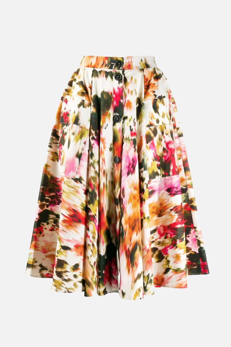 MSGM: Roses MSGM printed cotton circle skirt Color Multicolor_1