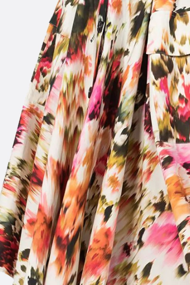 MSGM: Roses MSGM printed cotton circle skirt Color Multicolor_3