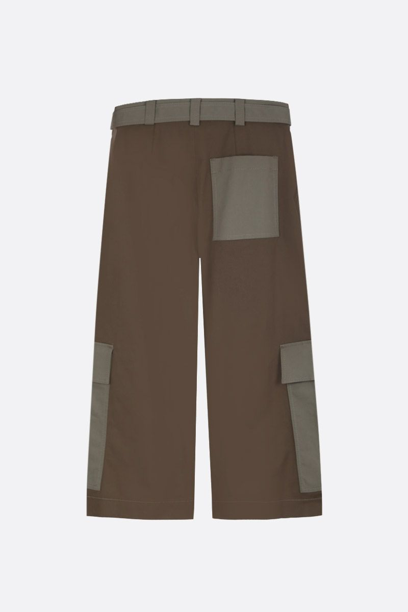 MSGM: stretch cotton cargo pants Color Green_2