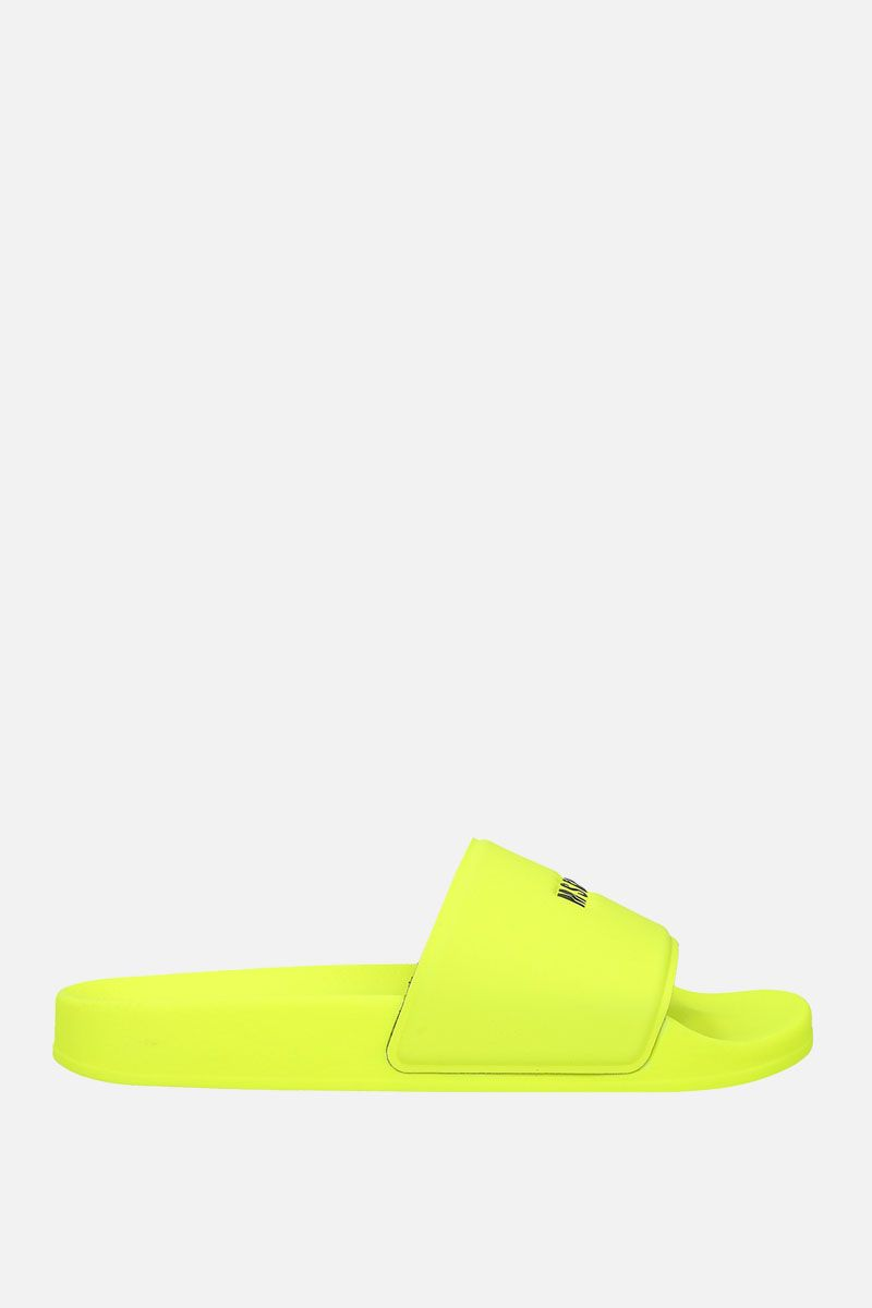 MSGM: logo-embossed rubber slide sandals Color Yellow_1