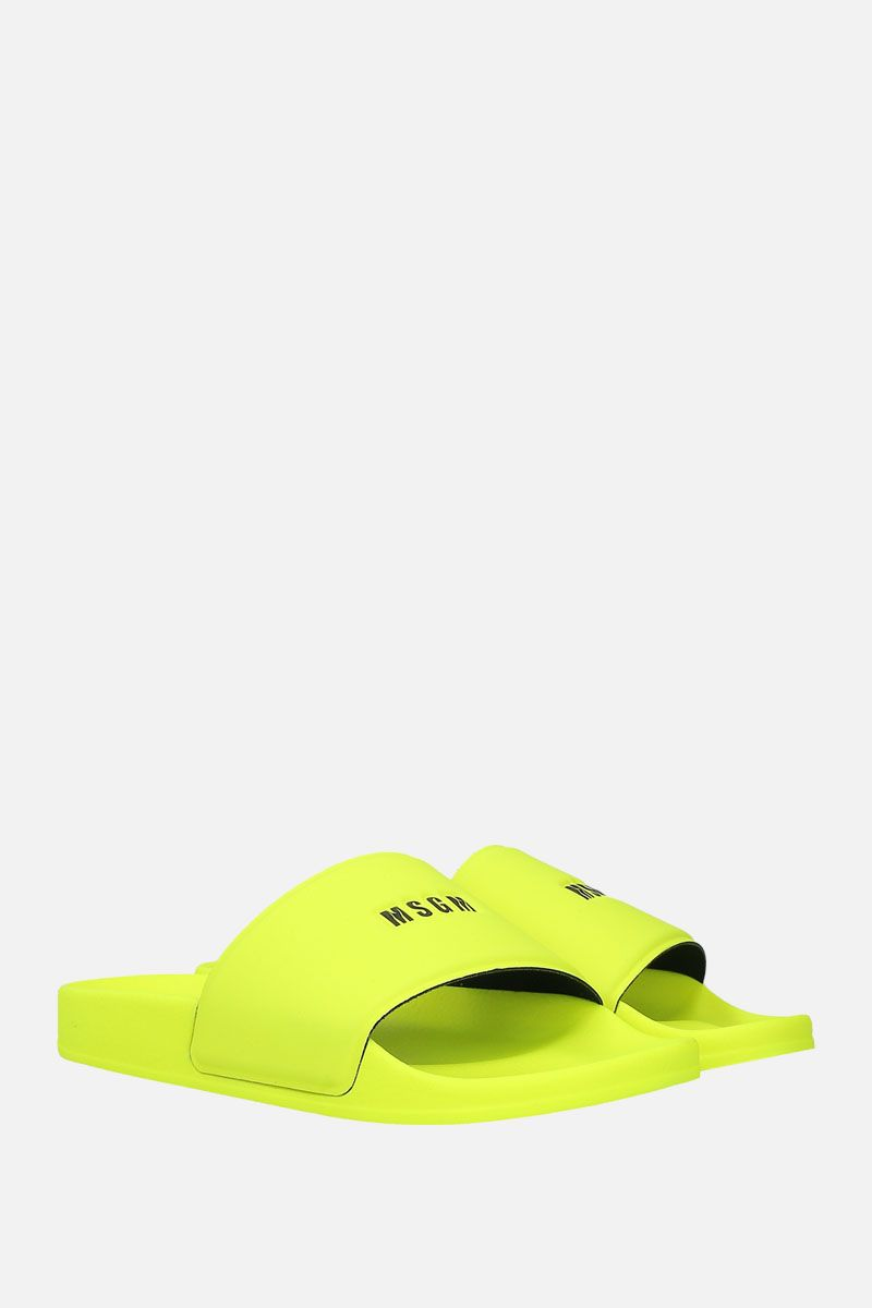 MSGM: logo-embossed rubber slide sandals Color Yellow_2