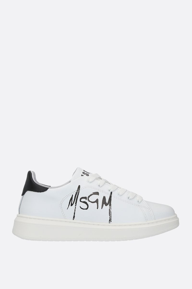 MSGM: smooth leather low-top sneakers Color White_1