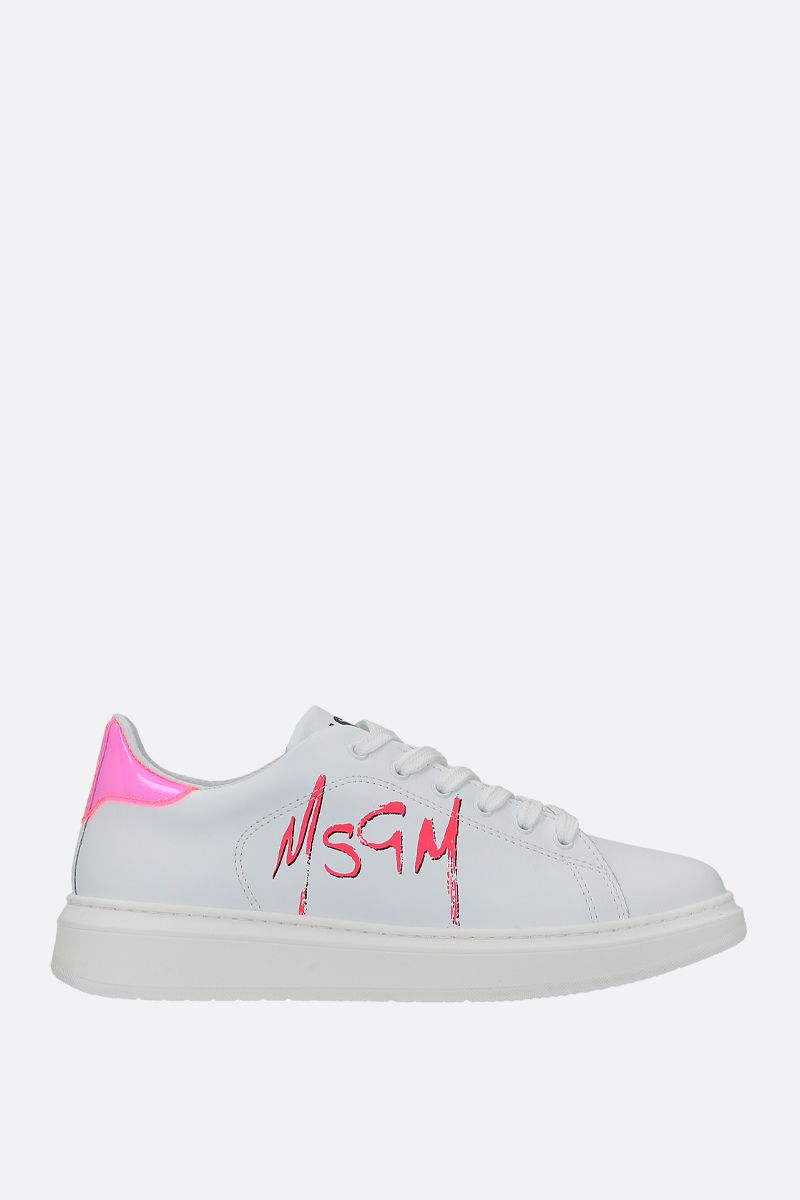 MSGM: sneaker low-top in pelle liscia_1