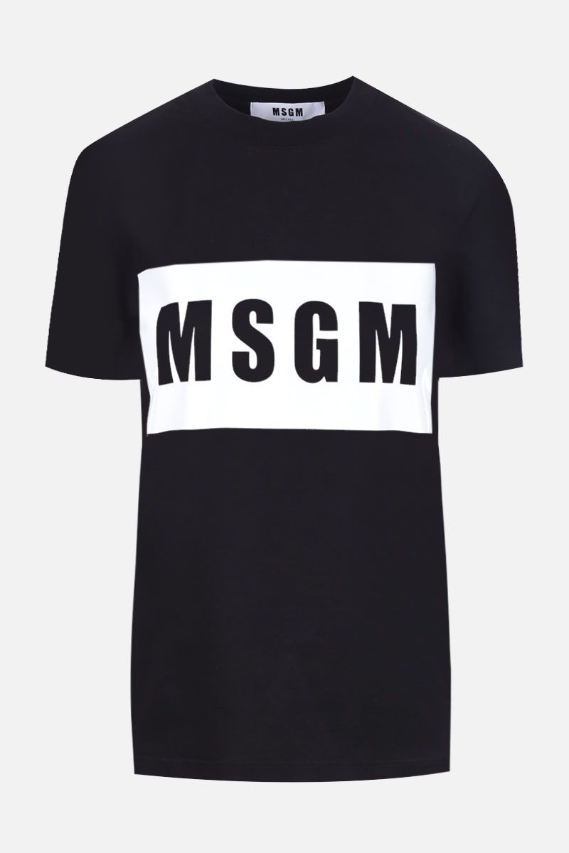 MSGM: box logo print cotton t-shirt Color Black_1