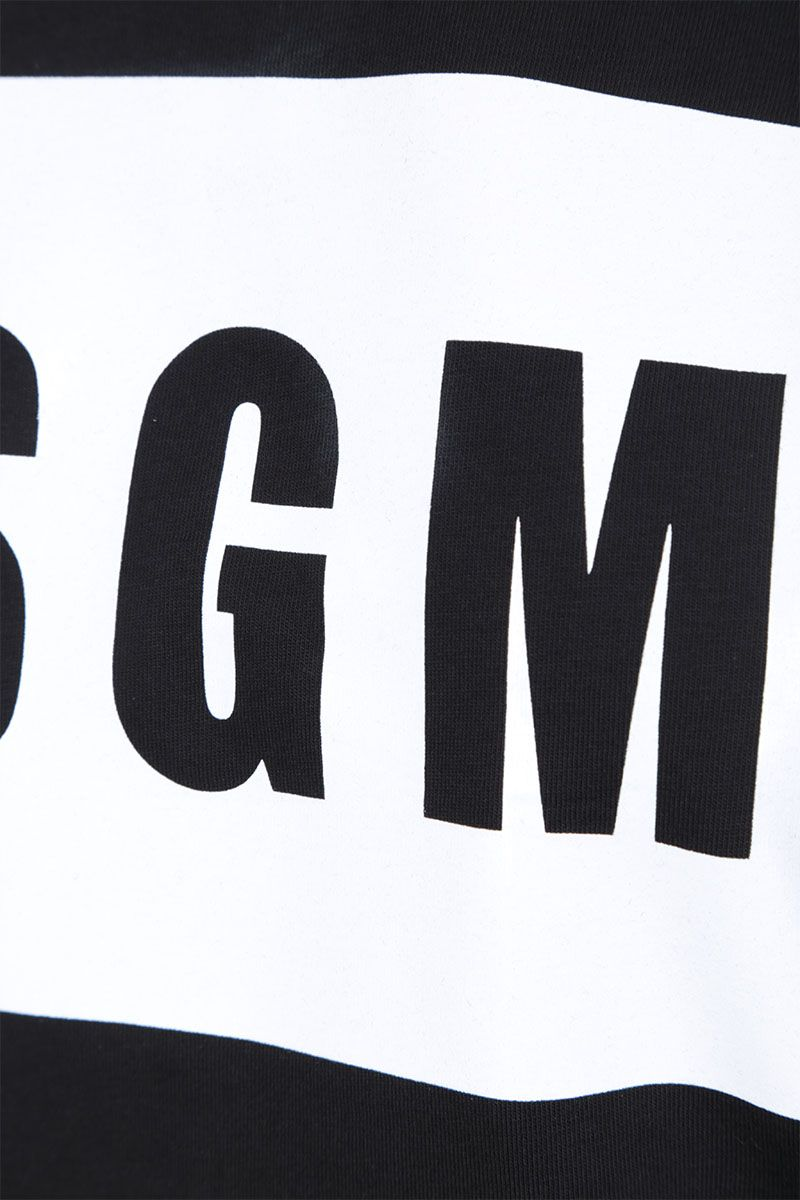 MSGM: box logo print cotton t-shirt Color Black_3