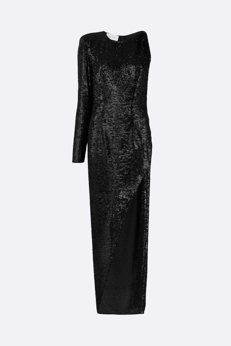 NERVI: Kendall sequinned one-shoulder dress Color Black_1