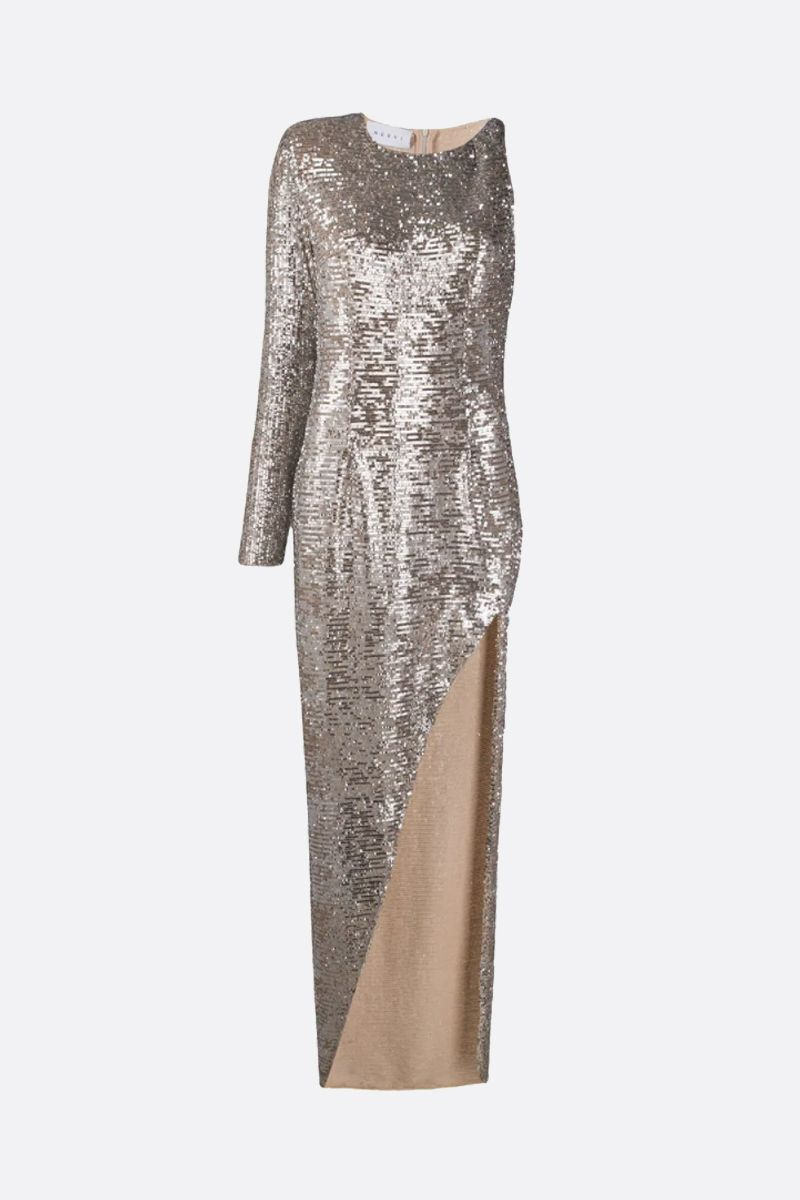 NERVI: Kendall sequinned one-shoulder dress Color Neutral_1
